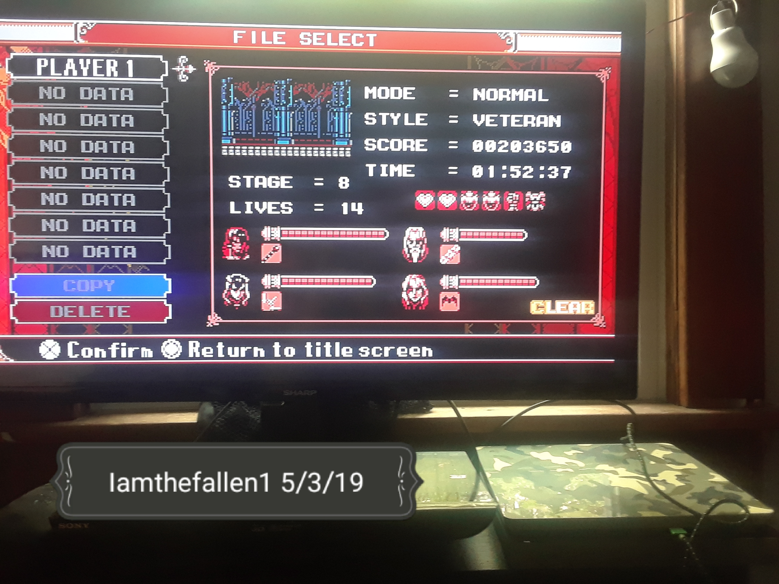iamthefallen1: Bloodstained: Curse Of The Moon [Veteran] (Playstation 4) 203,650 points on 2019-05-04 05:03:03