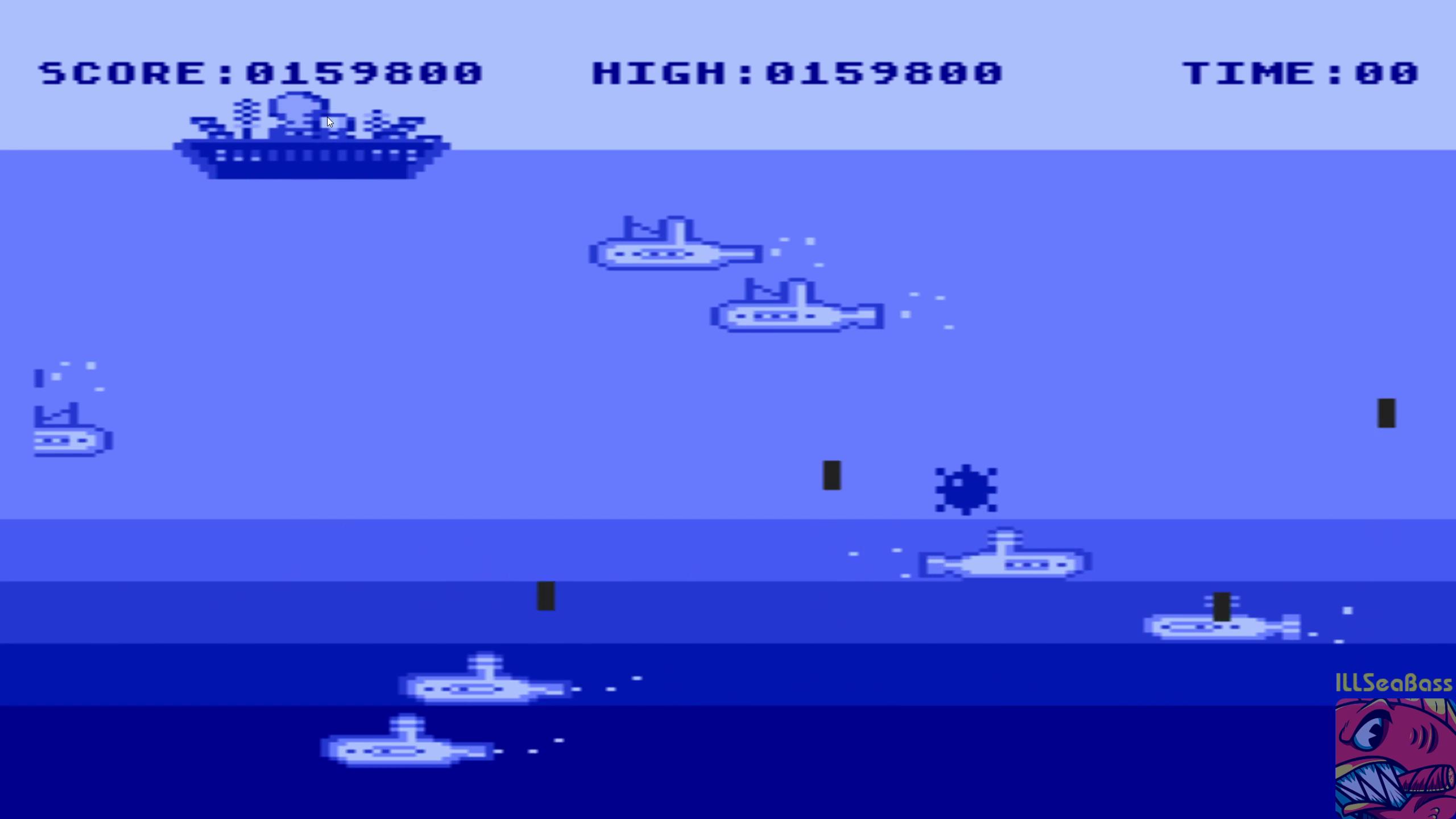 ILLSeaBass: Blowsub (Atari 400/800/XL/XE Emulated) 159,800 points on 2018-12-31 00:30:52