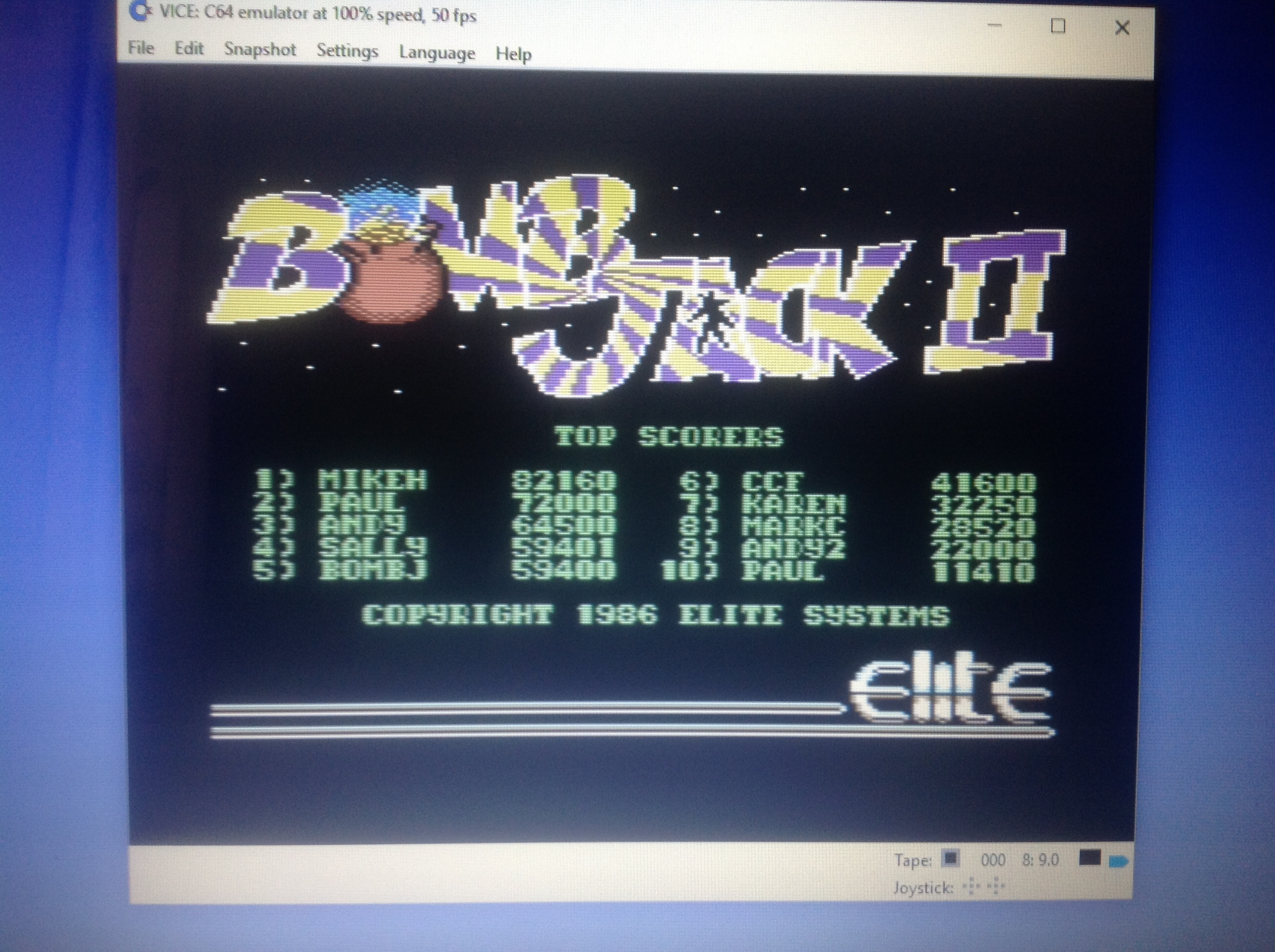 CoCoForest: Bomb Jack II (Commodore 64 Emulated) 41,600 points on 2018-01-13 05:51:29