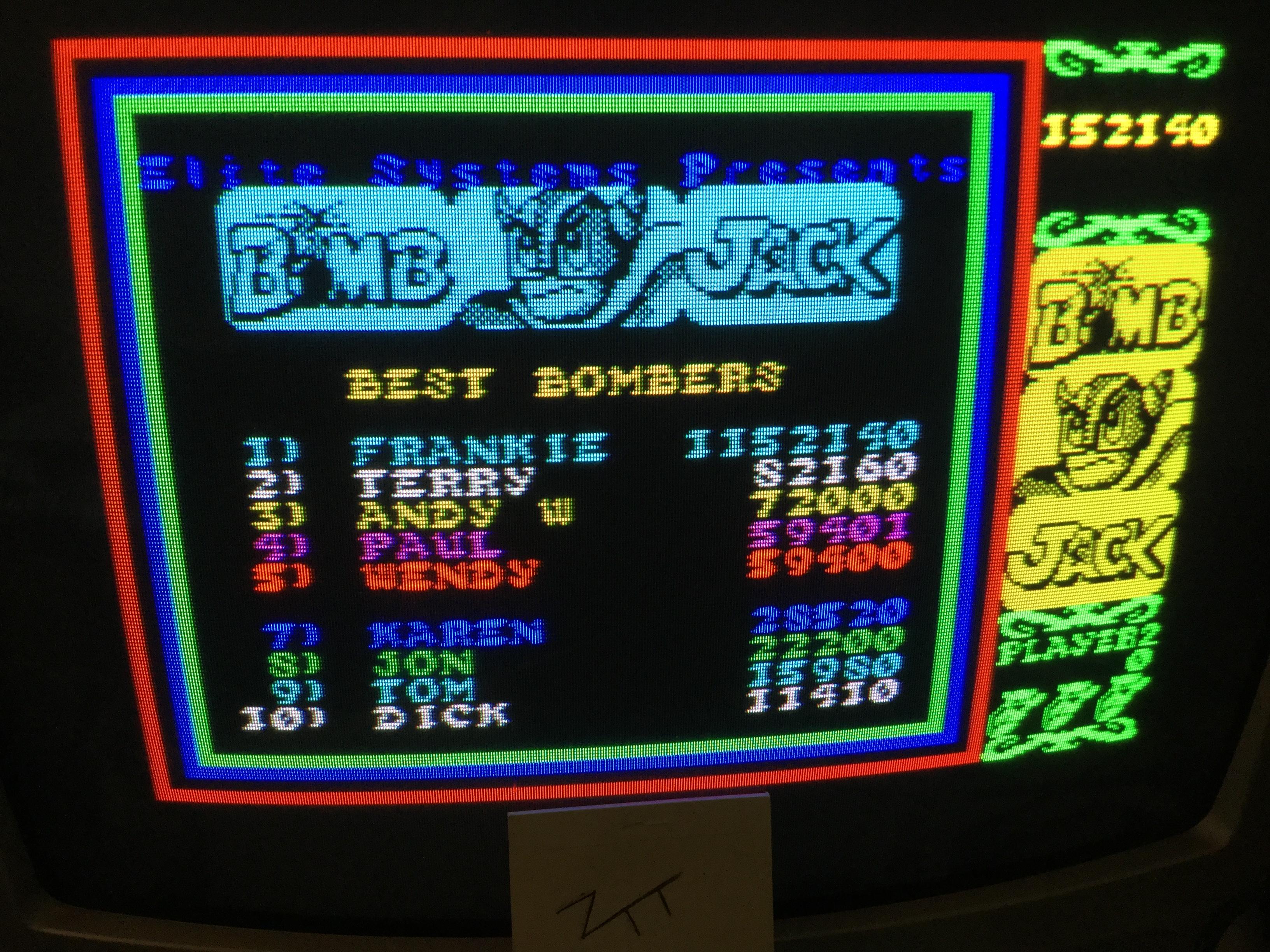 Frankie: Bomb Jack (ZX Spectrum) 1,152,140 points on 2018-09-19 11:49:36