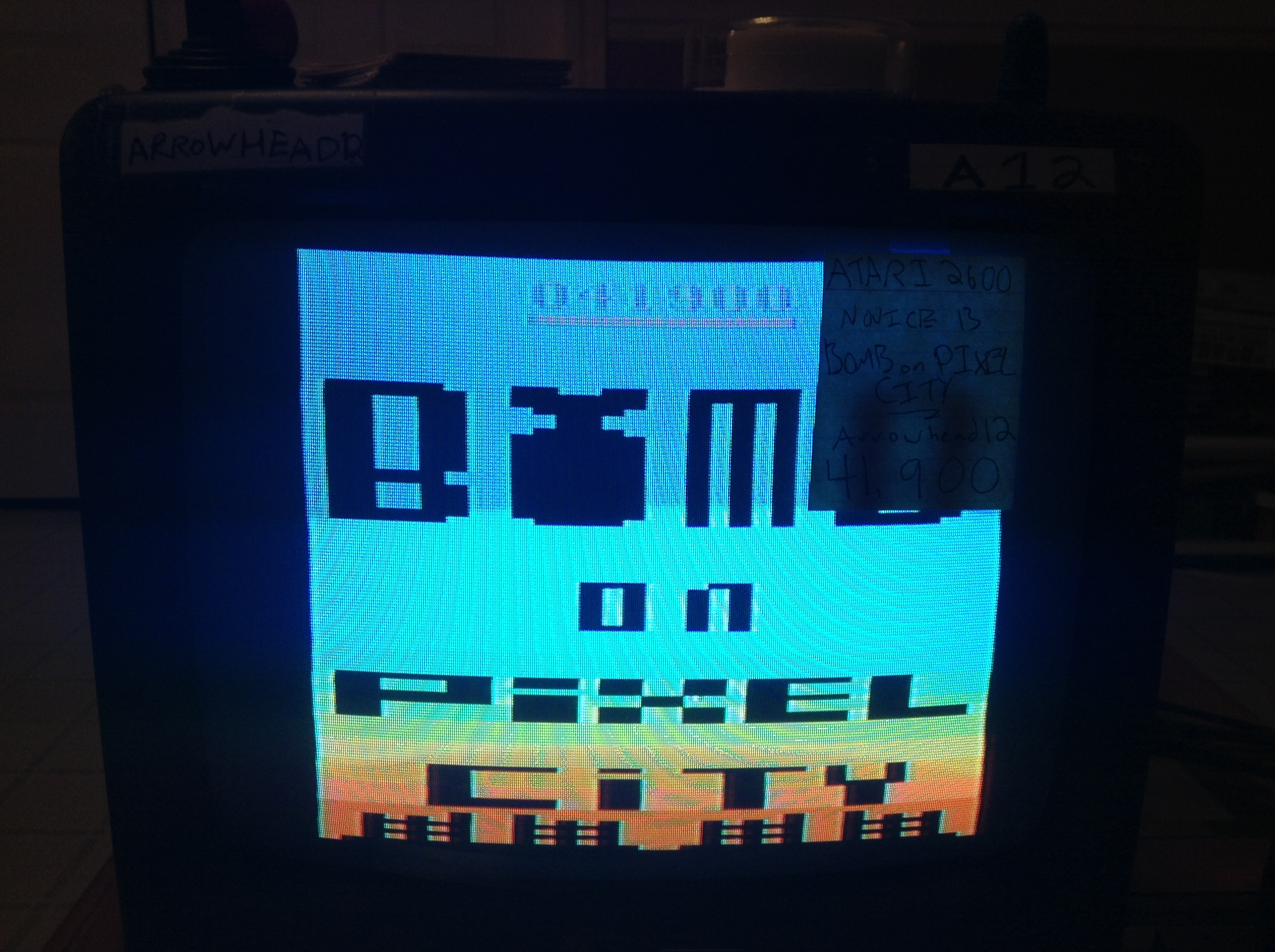 Arrowhead12: Bomb on Pixel City (Atari 2600 Novice/B) 41,900 points on 2019-01-01 00:09:43