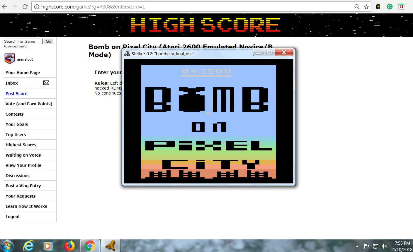 arenafoot: Bomb on Pixel City (Atari 2600 Emulated Novice/B Mode) 43,500 points on 2018-04-10 19:55:30