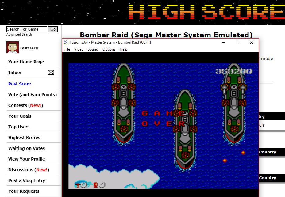 FosterAMF: Bomber Raid (Sega Master System Emulated) 359,200 points on 2015-08-23 03:18:43