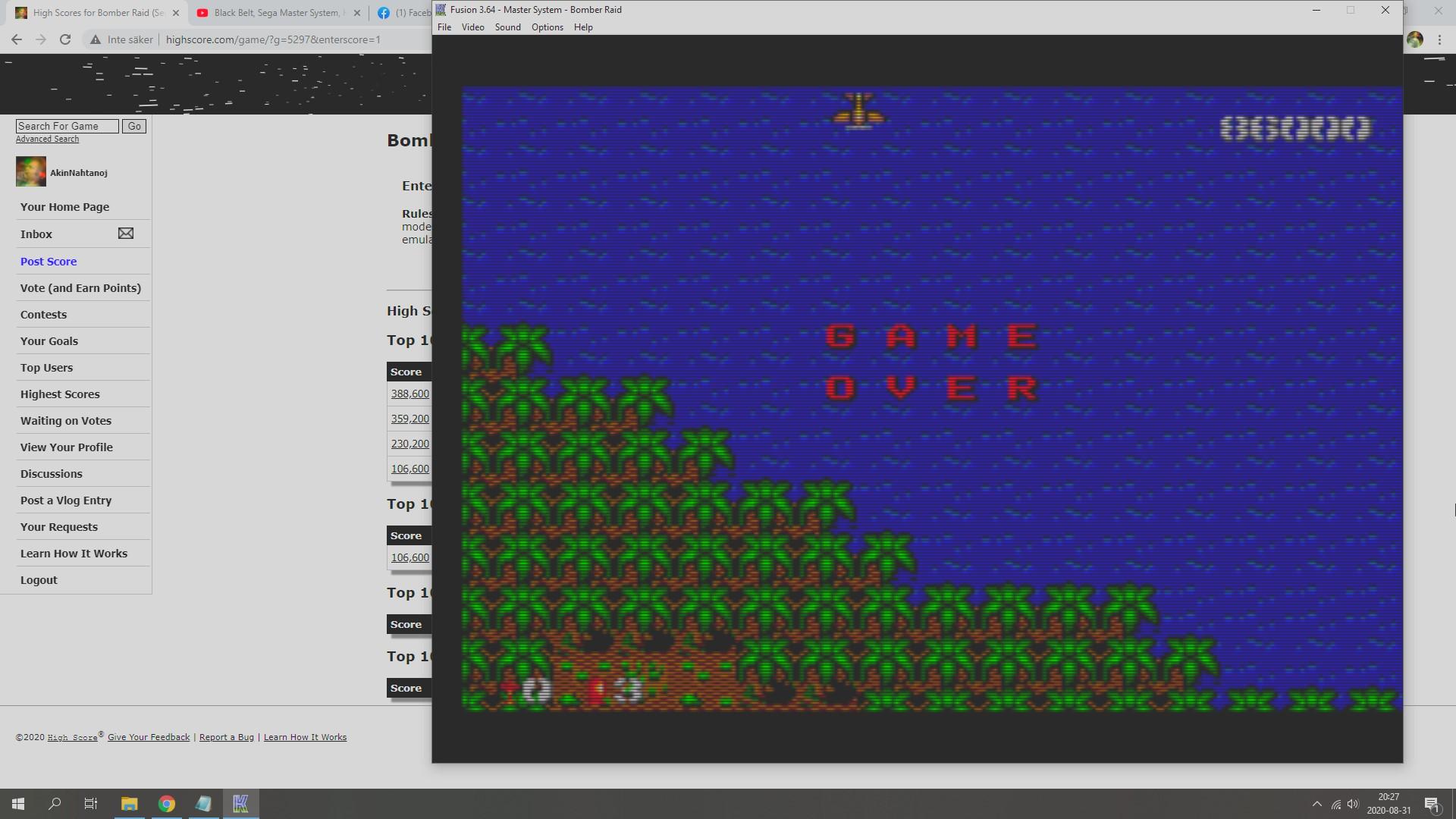AkinNahtanoj: Bomber Raid (Sega Master System Emulated) 86,000 points on 2020-08-31 13:38:23