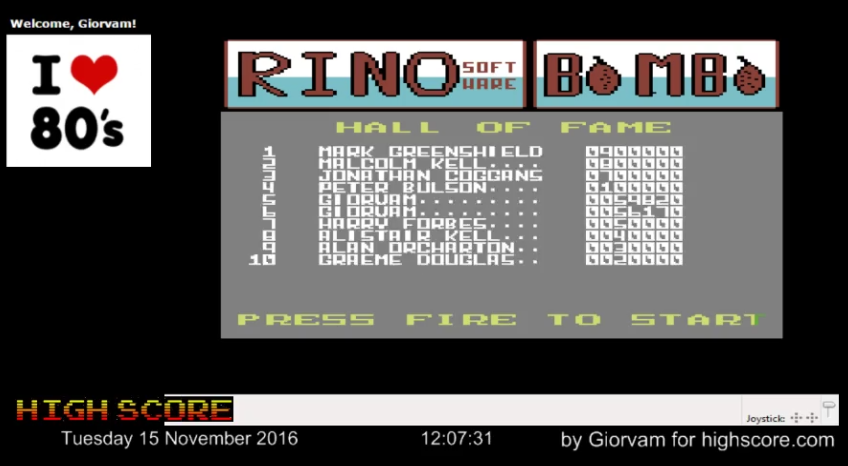 Giorvam: Bombo (Commodore 64 Emulated) 59,820 points on 2016-11-15 04:24:58