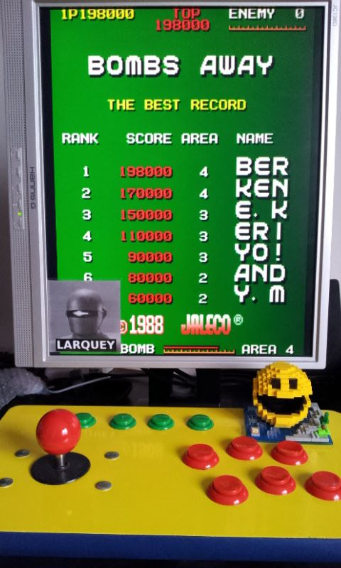 Larquey: Bombs Away [bombsa] (Arcade Emulated / M.A.M.E.) 198,000 points on 2017-05-21 03:08:29