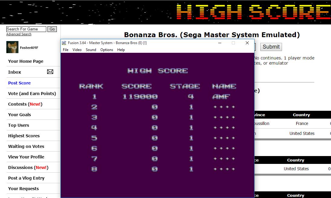 FosterAMF: Bonanza Bros. (Sega Master System Emulated) 119,000 points on 2016-01-25 01:32:43