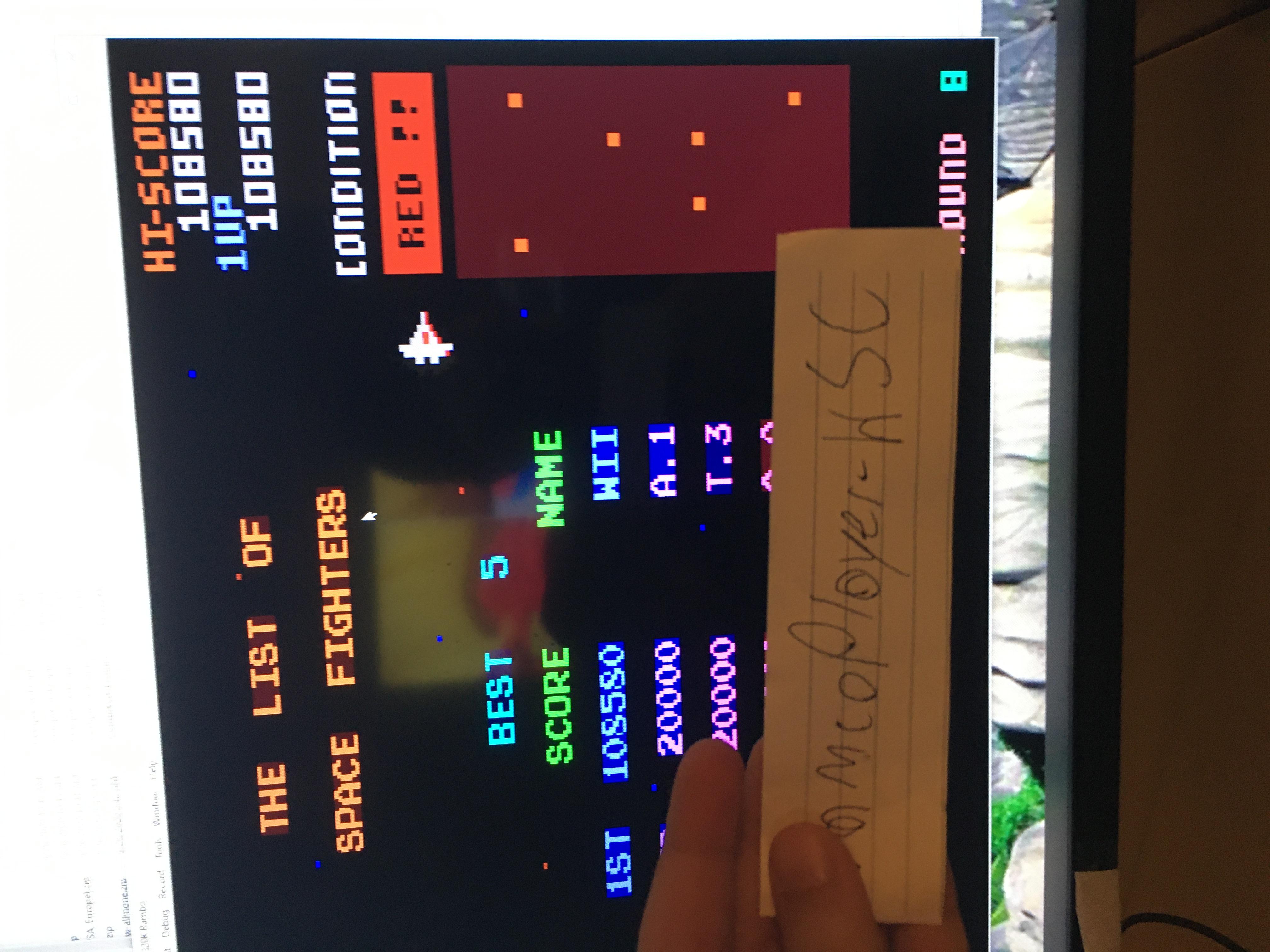 NamcoPlayer: Bosconian (Atari 400/800/XL/XE Emulated) 108,580 points on 2020-10-03 20:46:34