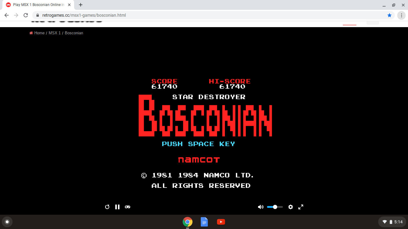 alpha: Bosconian (MSX Emulated) 61,740 points on 2020-09-27 17:17:25