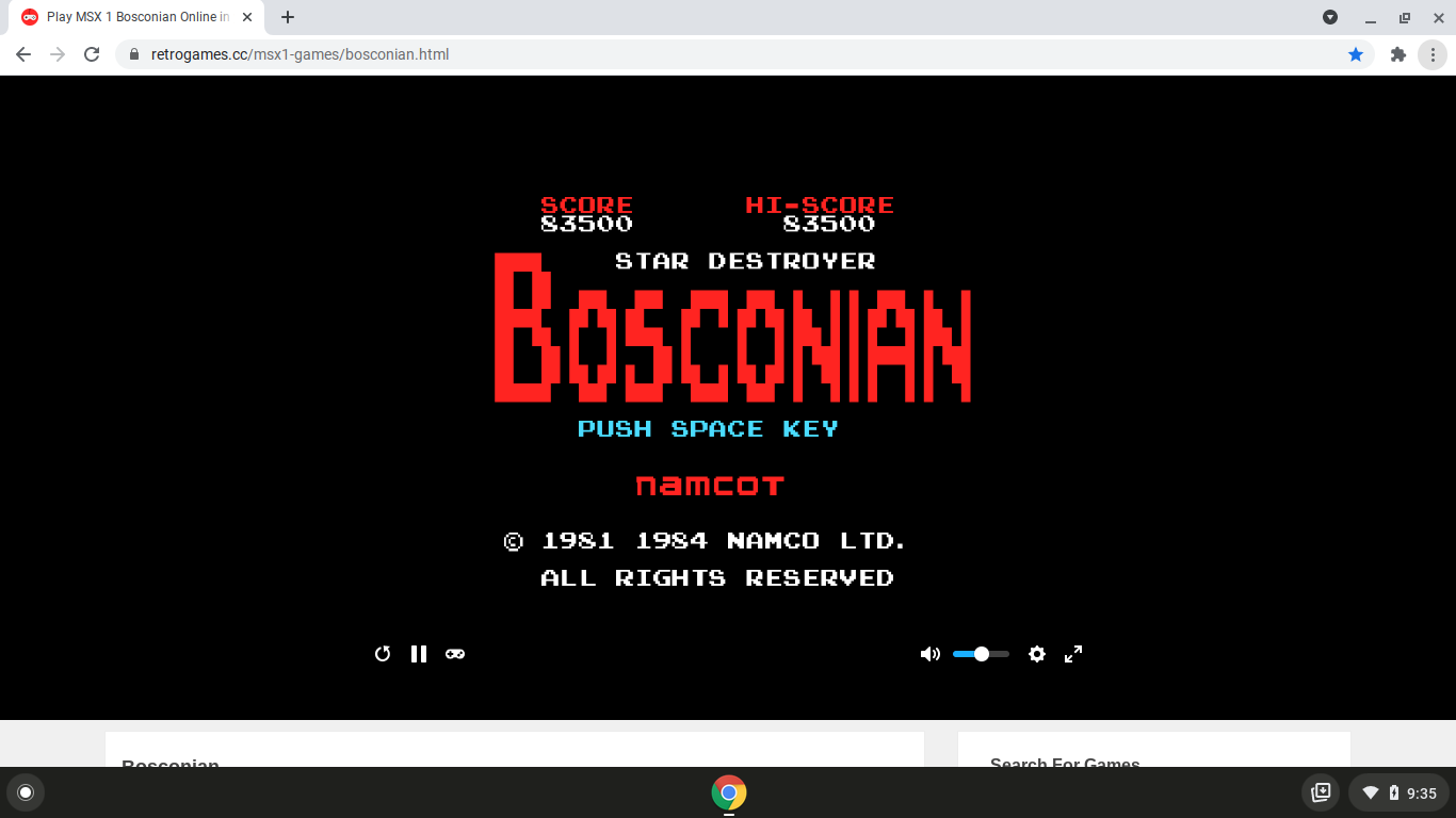 alpha: Bosconian (MSX Emulated) 83,500 points on 2021-03-19 20:37:55
