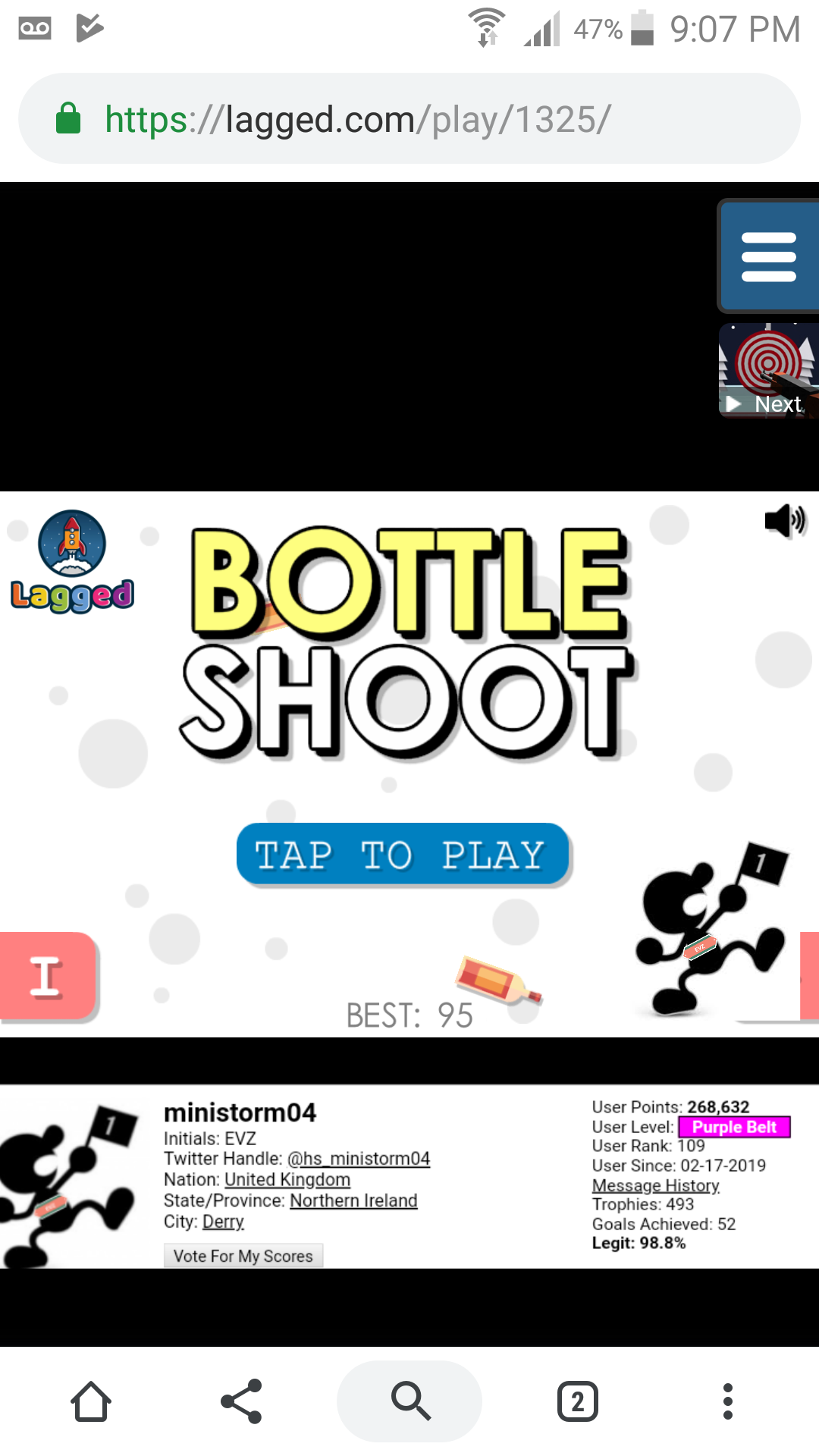 Bottle Shooter 95 points
