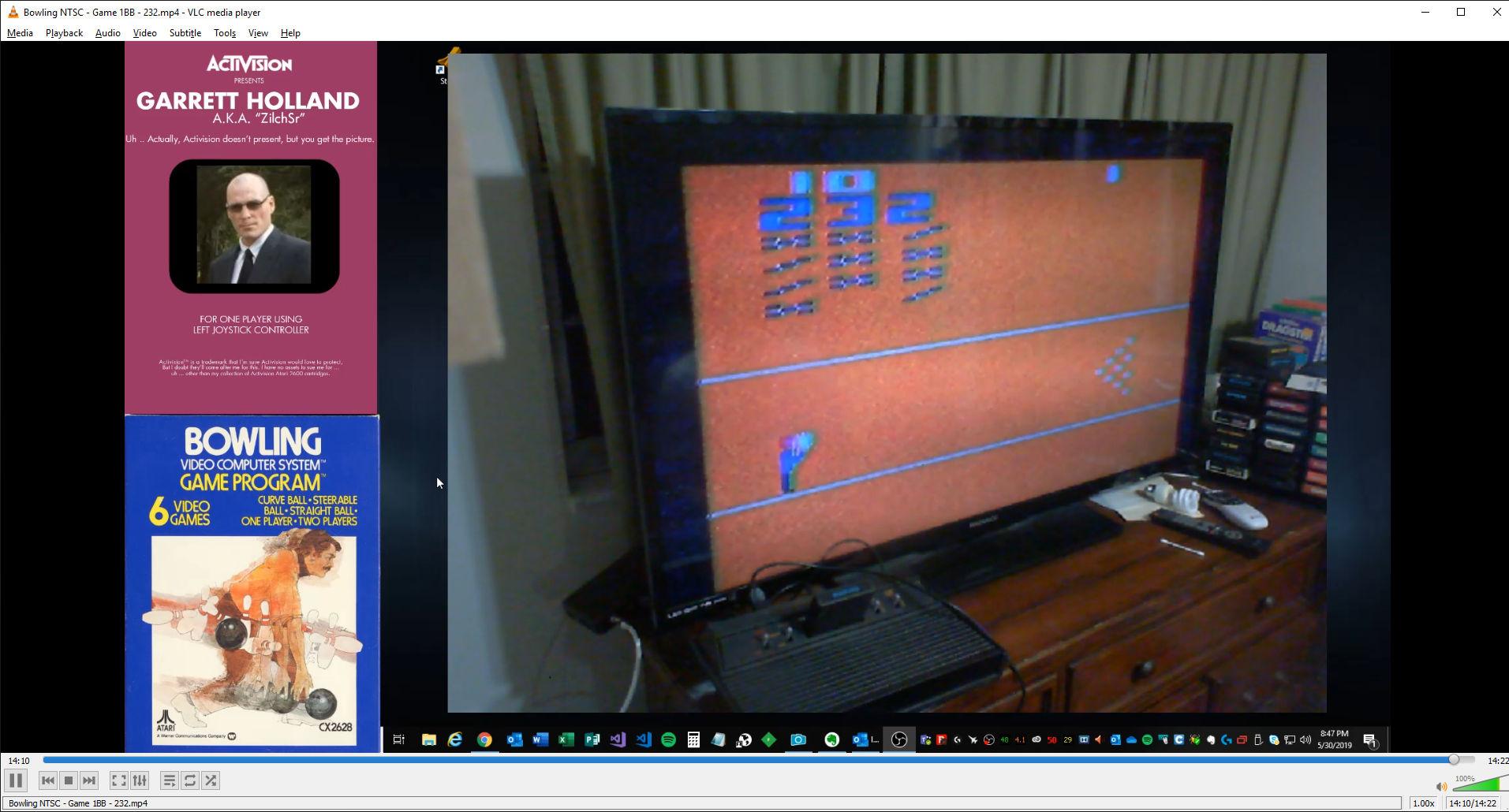 ZilchSr: Bowling (Atari 2600 Novice/B) 232 points on 2019-05-30 21:40:34
