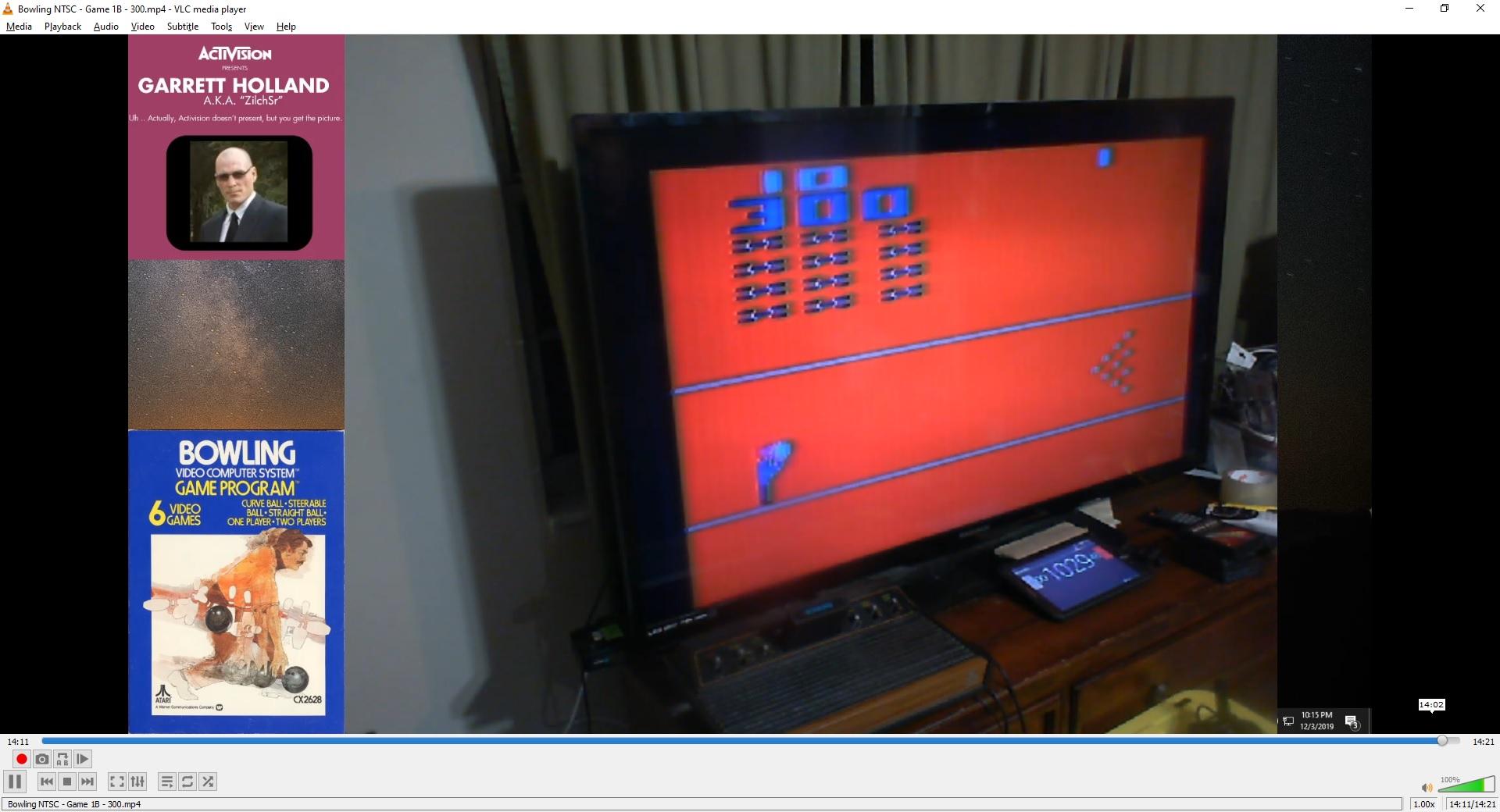 ZilchSr: Bowling (Atari 2600 Novice/B) 300 points on 2019-12-04 00:24:52