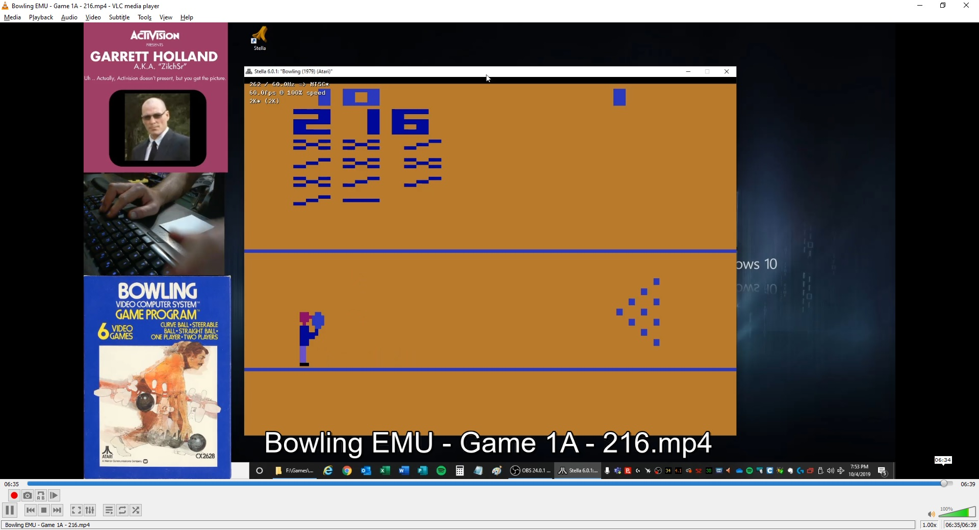 ZilchSr: Bowling (Atari 2600 Emulated Expert/A Mode) 216 points on 2019-10-04 18:59:39