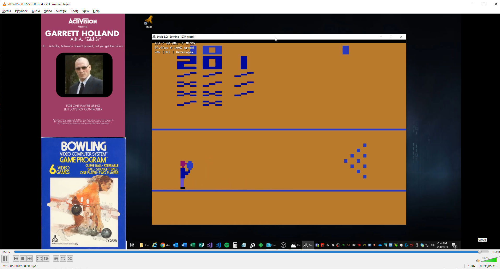 ZilchSr: Bowling (Atari 2600 Emulated Novice/B Mode) 201 points on 2019-05-30 02:07:01