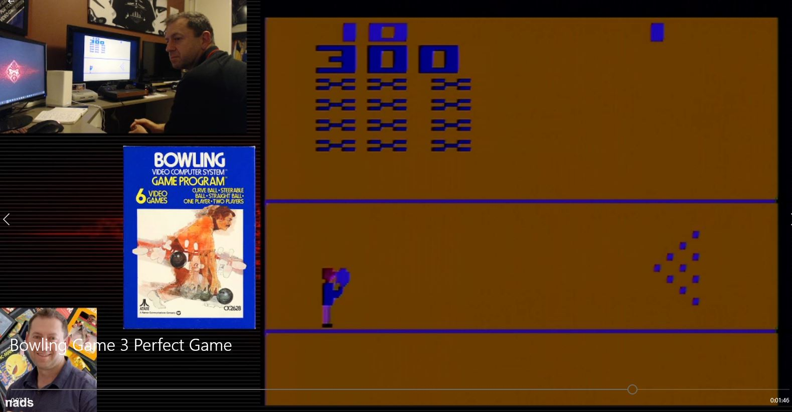 nads: Bowling: Game 3 (Atari 2600 Novice/B) 300 points on 2021-01-21 05:42:35