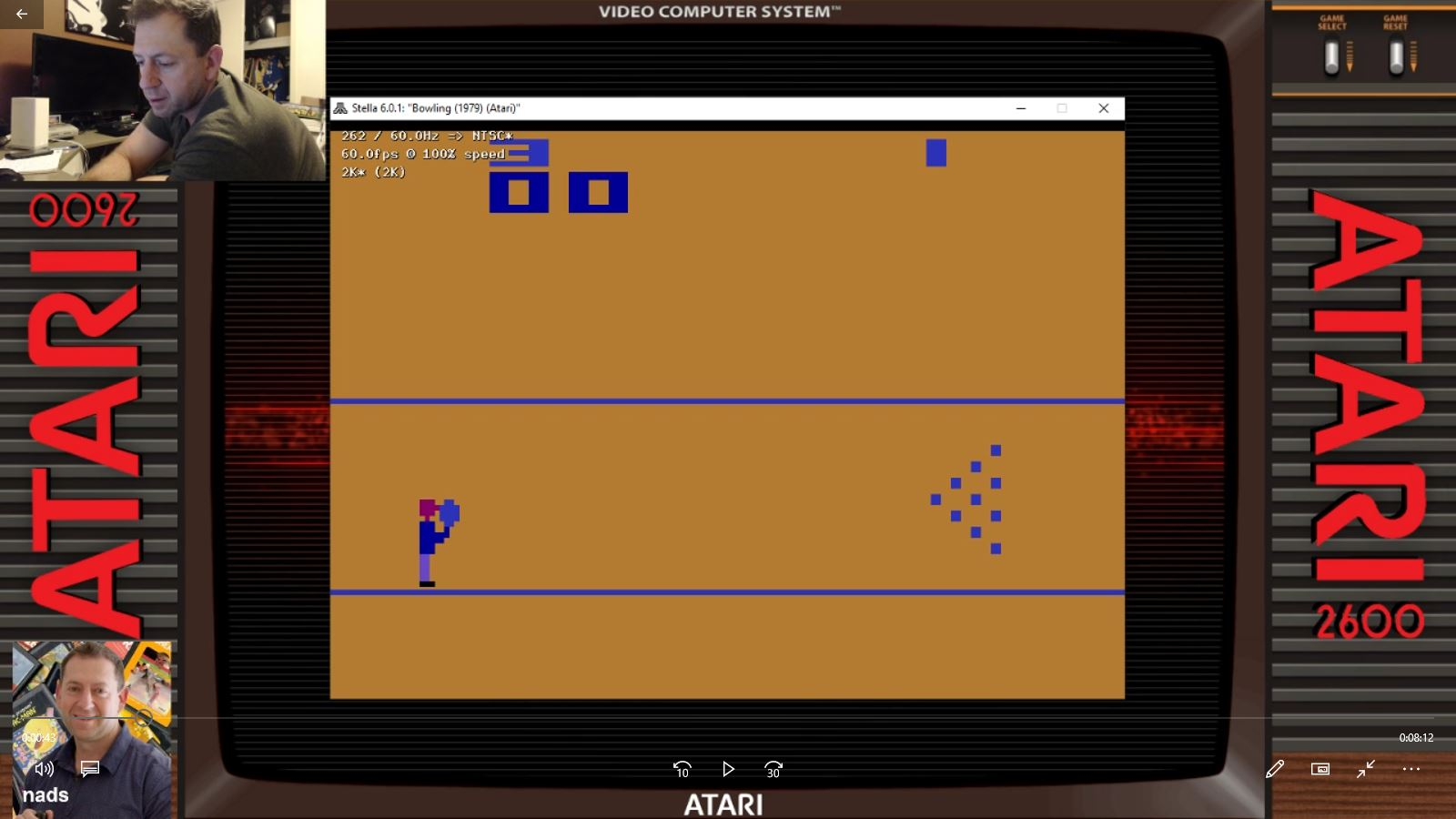 nads: Bowling: Game 3 (Atari 2600 Emulated Novice/B Mode) 300 points on 2021-01-23 05:23:33