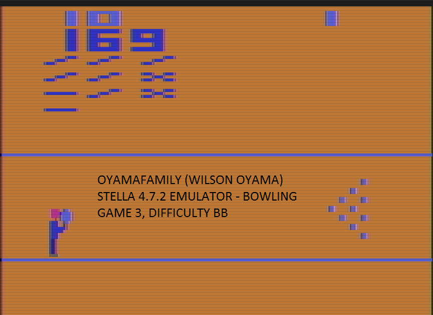 oyamafamily: Bowling: Game 3 (Atari 2600 Emulated Novice/B Mode) 169 points on 2017-01-02 17:23:50