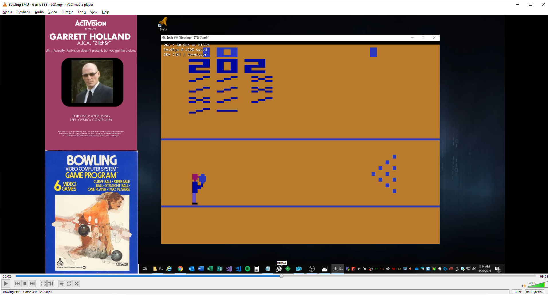 ZilchSr: Bowling: Game 3 (Atari 2600 Emulated Novice/B Mode) 202 points on 2019-05-30 02:22:44