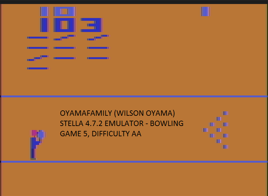 oyamafamily: Bowling: Game 5 (Atari 2600 Emulated Expert/A Mode) 103 points on 2017-01-02 17:25:20