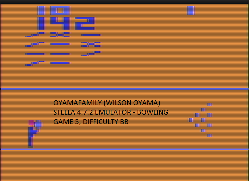oyamafamily: Bowling: Game 5 (Atari 2600 Emulated Novice/B Mode) 142 points on 2017-01-02 17:19:07