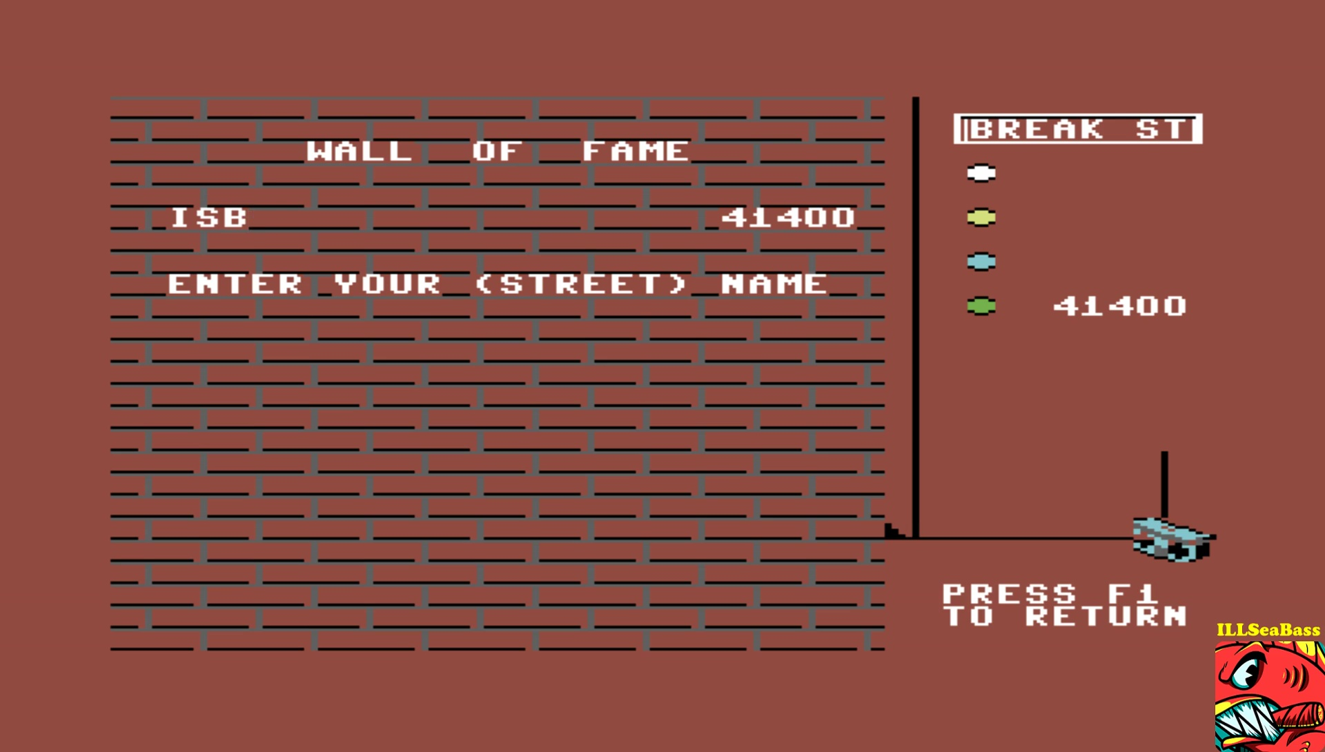 ILLSeaBass: Break Street (Commodore 64 Emulated) 41,400 points on 2017-05-19 18:54:01