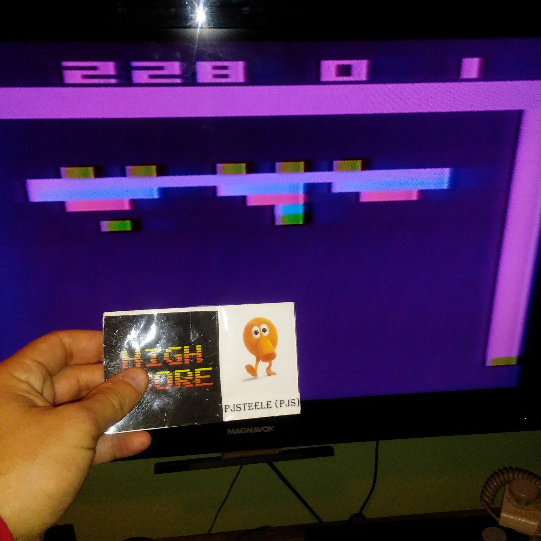 Pjsteele: Breakout: Game 1 (Atari 2600 Novice/B) 228 points on 2017-12-30 21:25:33