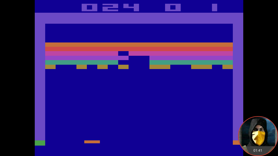 omargeddon: Breakout: Game 1 (Atari 2600 Emulated Expert/A Mode) 24 points on 2018-05-21 18:35:57