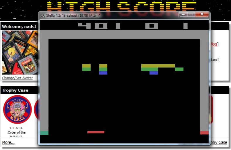nads: Breakout: Game 1 (Atari 2600 Emulated Novice/B Mode) 401 points on 2015-12-05 22:27:09