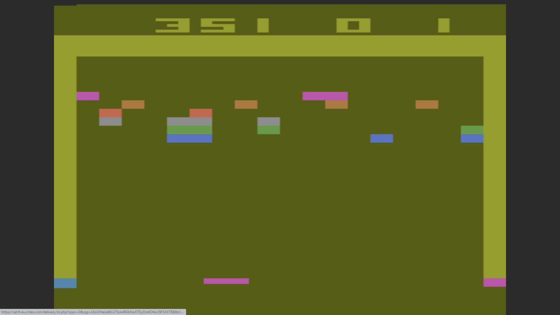 AkinNahtanoj: Breakout: Game 12 (Atari 2600 Emulated Expert/A Mode) 351 points on 2020-10-13 15:20:07