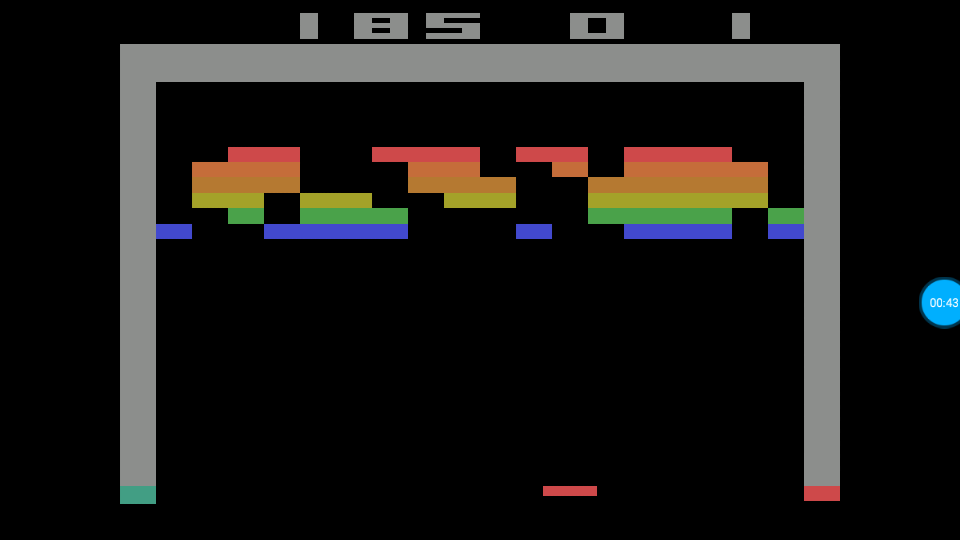 omargeddon: Breakout: Game 12 (Atari 2600 Emulated Expert/A Mode) 185 points on 2018-07-14 01:19:04