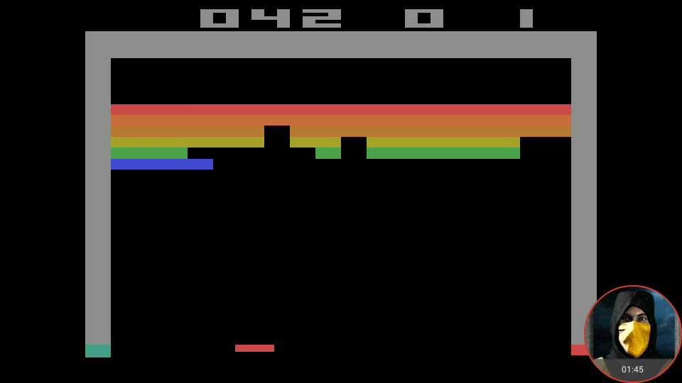omargeddon: Breakout: Game 2 (Atari 2600 Emulated Expert/A Mode) 42 points on 2018-05-21 18:41:45