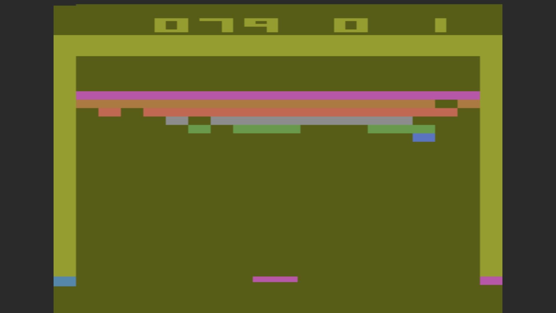 AkinNahtanoj: Breakout: Game 2 (Atari 2600 Emulated Novice/B Mode) 79 points on 2020-10-13 15:42:22