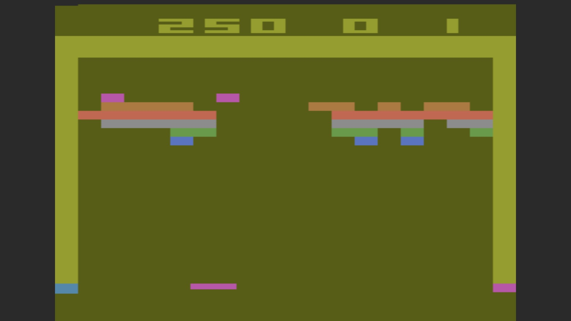 AkinNahtanoj: Breakout: Game 3 (Atari 2600 Emulated Expert/A Mode) 250 points on 2020-10-13 15:48:38