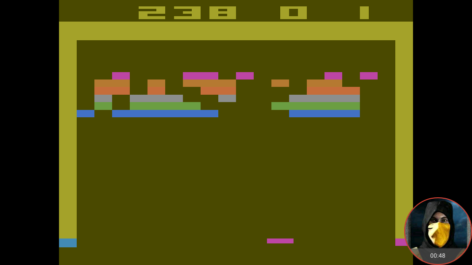 omargeddon: Breakout: Game 9 (Atari 2600 Emulated Expert/A Mode) 238 points on 2018-05-21 18:59:32