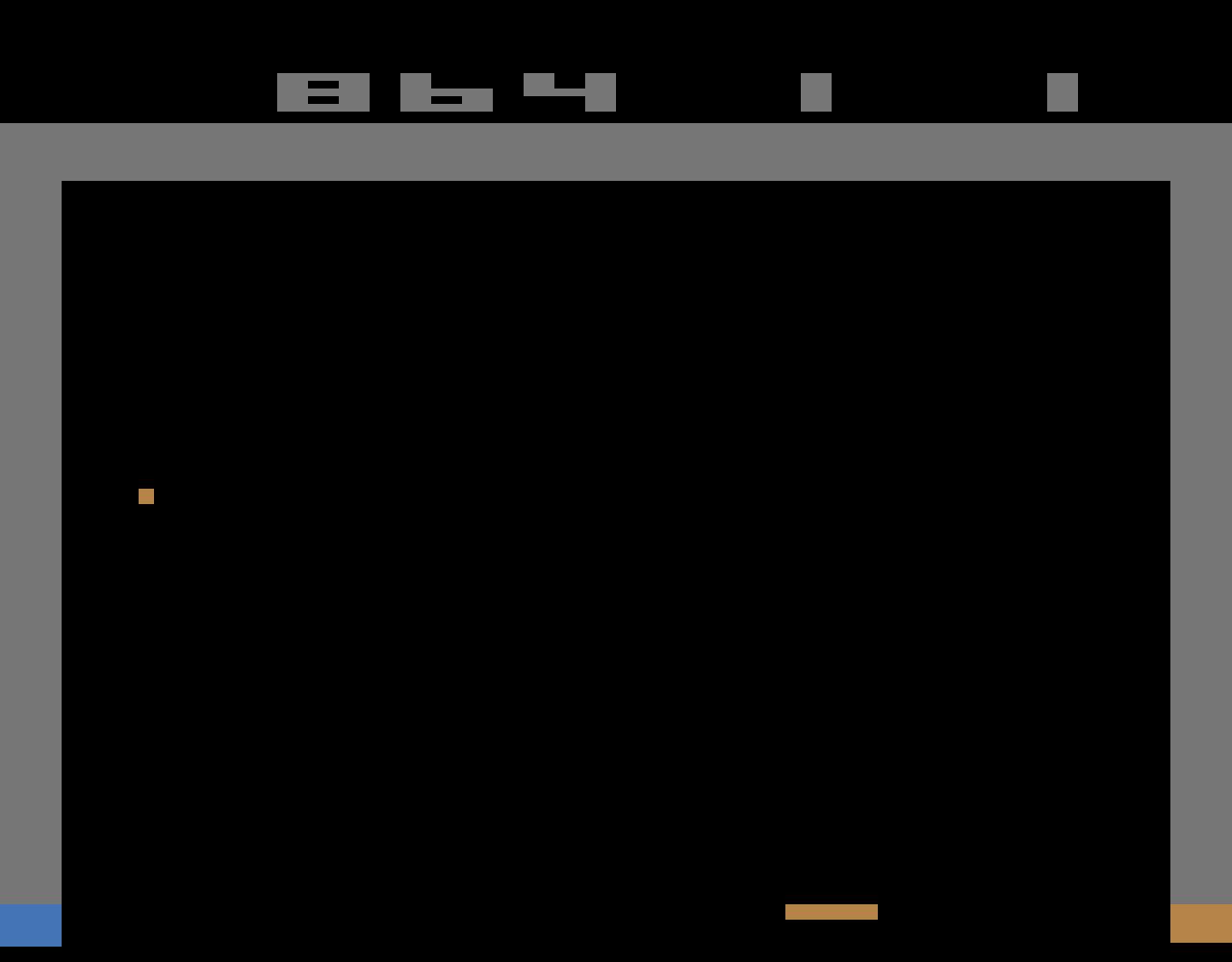 TheTrickster: Breakout: Game 9 (Atari 2600 Emulated Novice/B Mode) 864 points on 2016-06-15 06:34:15