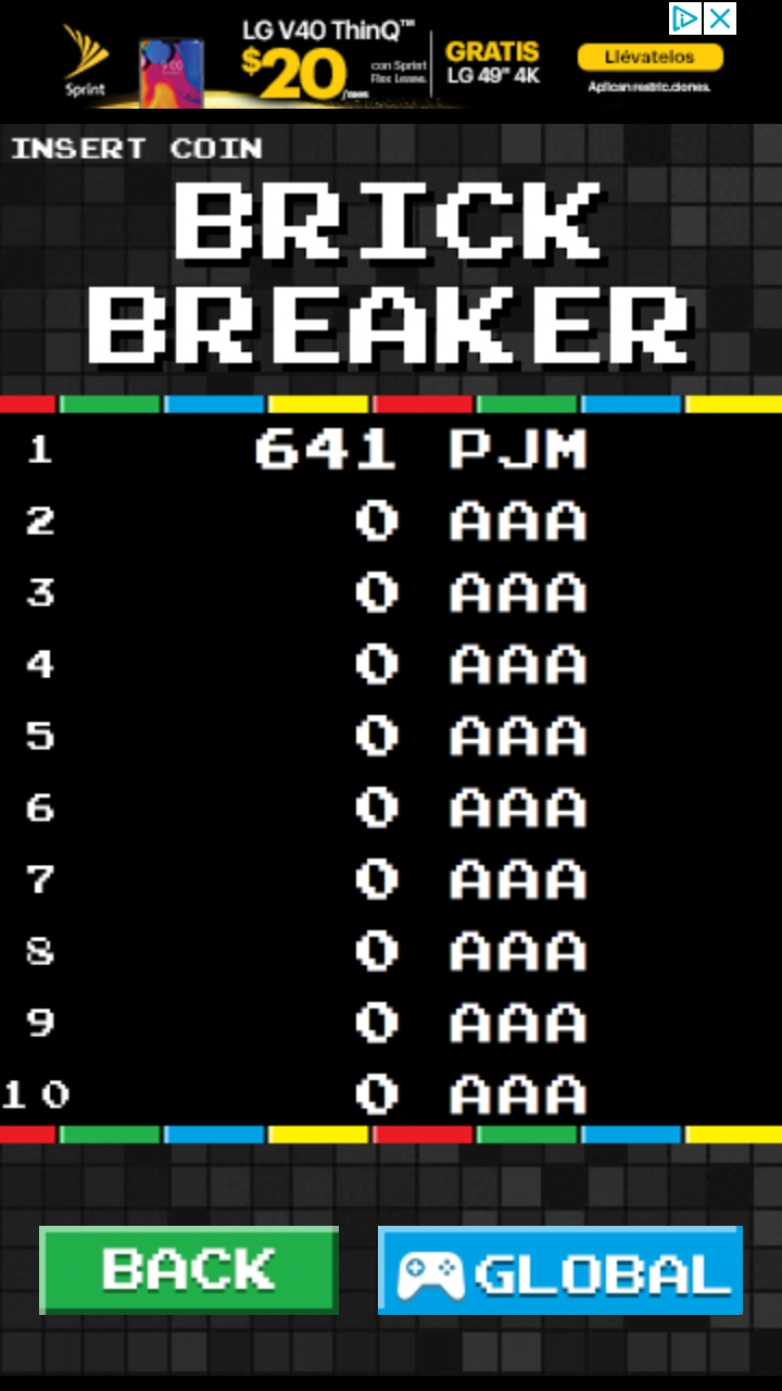 gbpxl: Brick Breaker Arcade (Android) 641 points on 2018-11-28 06:13:16