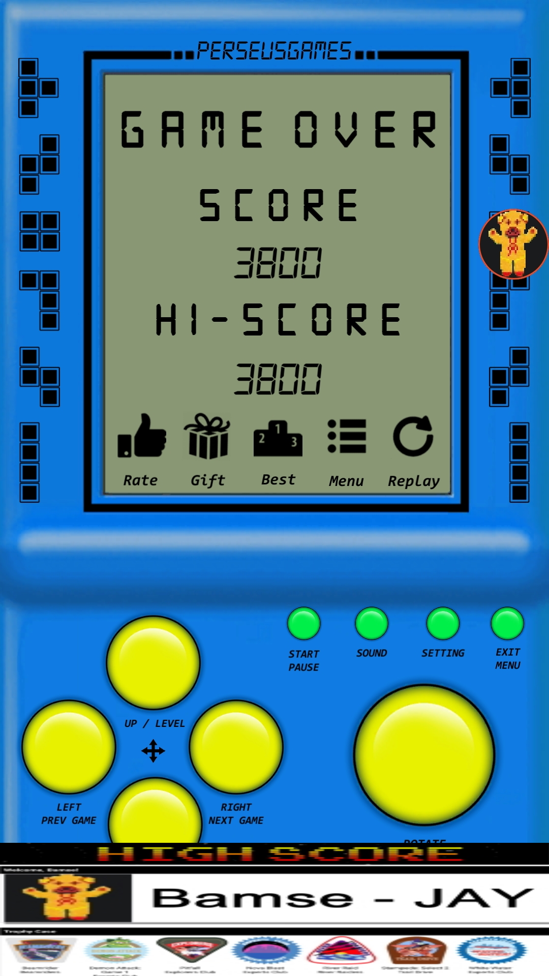 Bamse: Brick Game: Game G (Android) 3,800 points on 2019-12-05 17:24:45