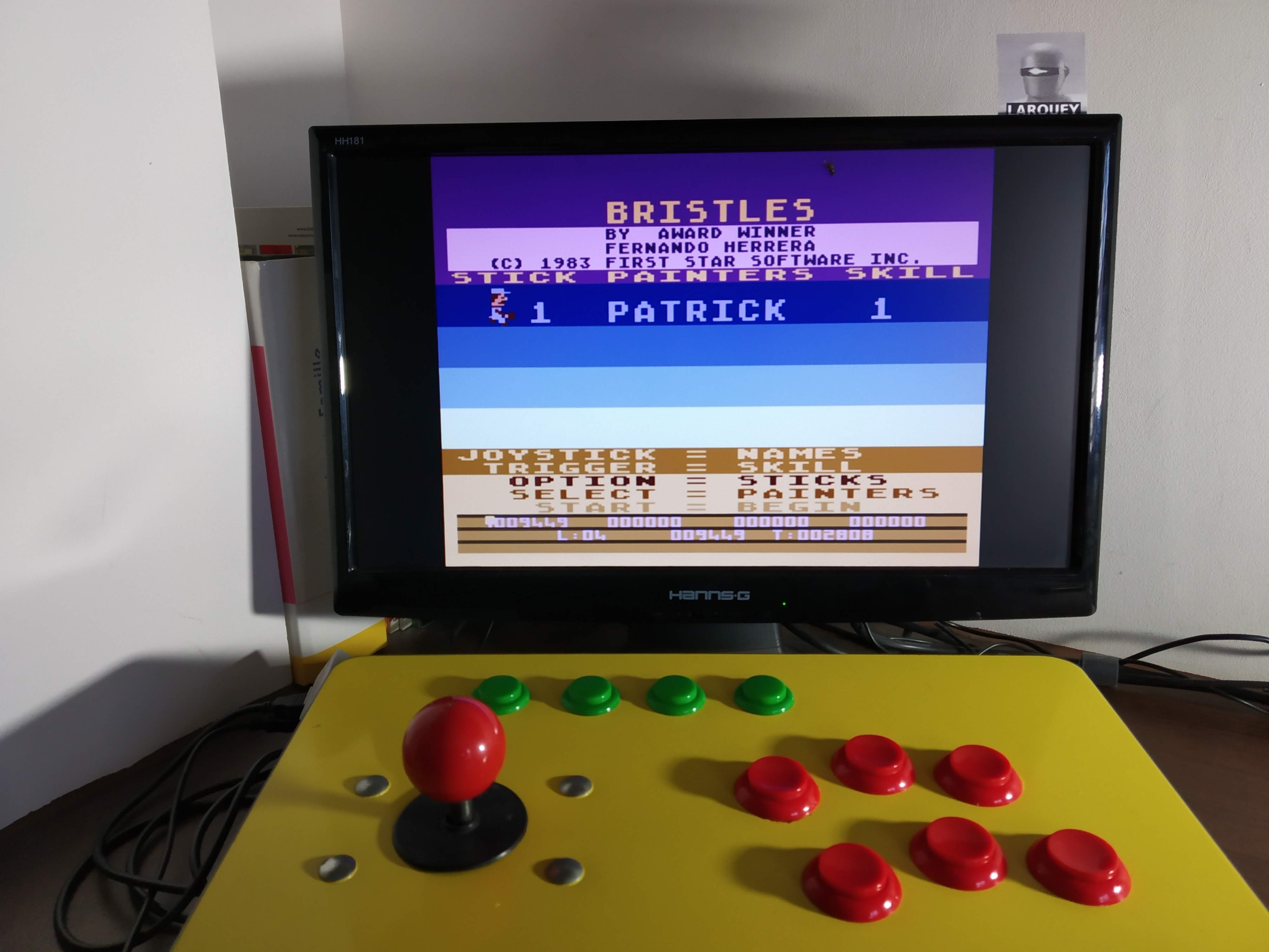 Larquey: Bristles (Atari 400/800/XL/XE Emulated) 9,449 points on 2019-12-14 10:54:06