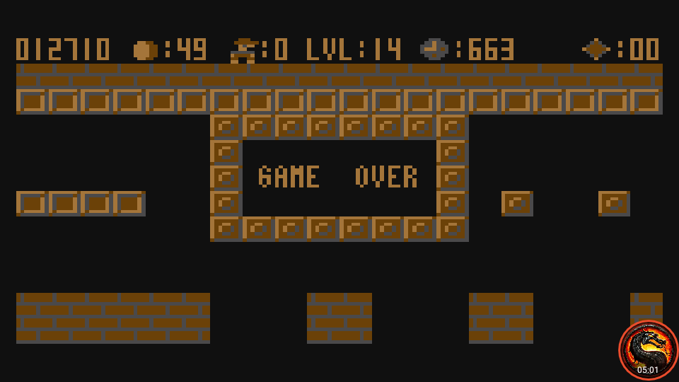 omargeddon: Bros (Atari 400/800/XL/XE Emulated) 12,710 points on 2020-08-02 15:20:44