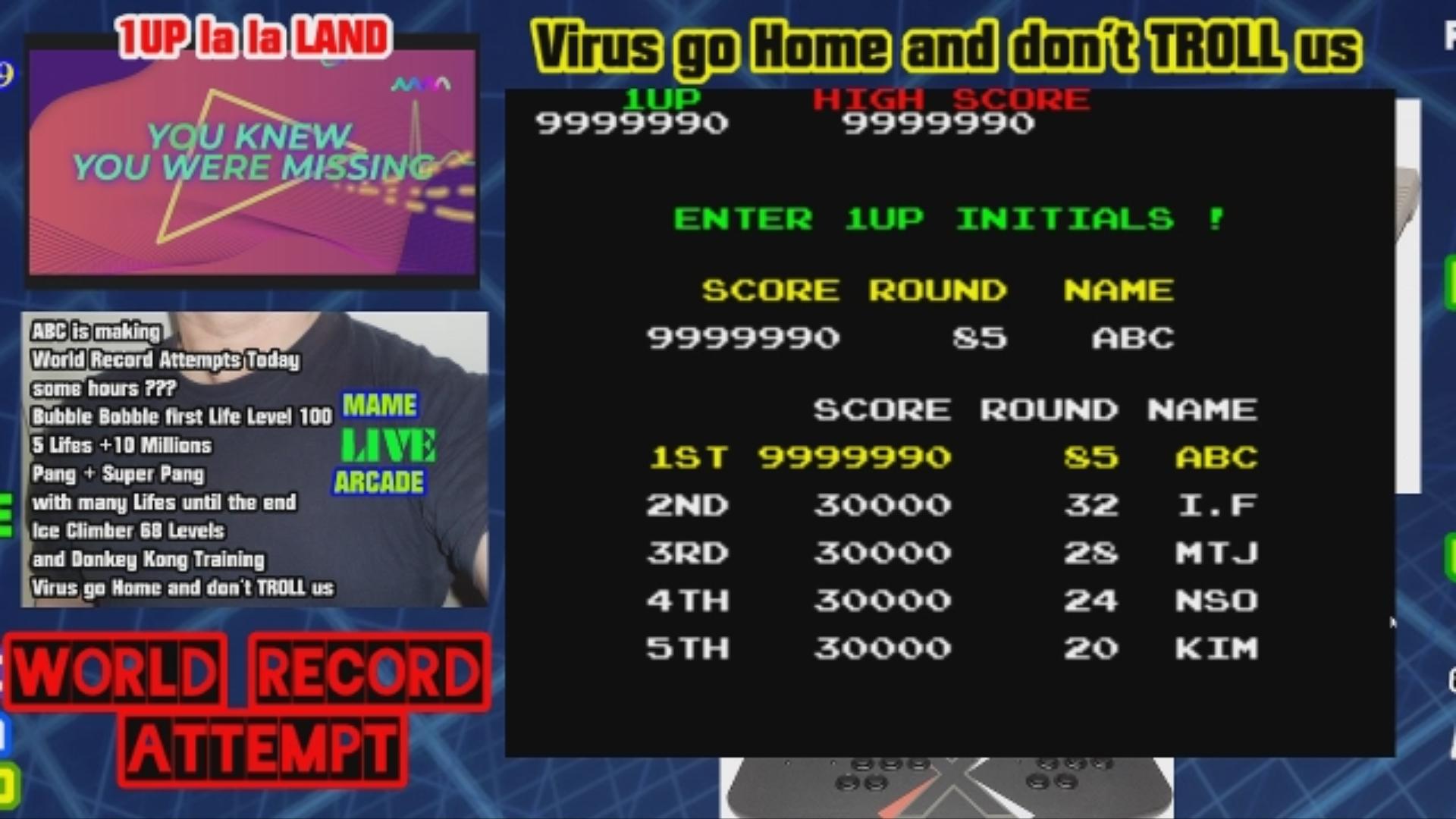 ArcadePlayerABC: Bubble Bobble (Arcade Emulated / M.A.M.E.) 9,999,990 points on 2020-04-12 10:12:29
