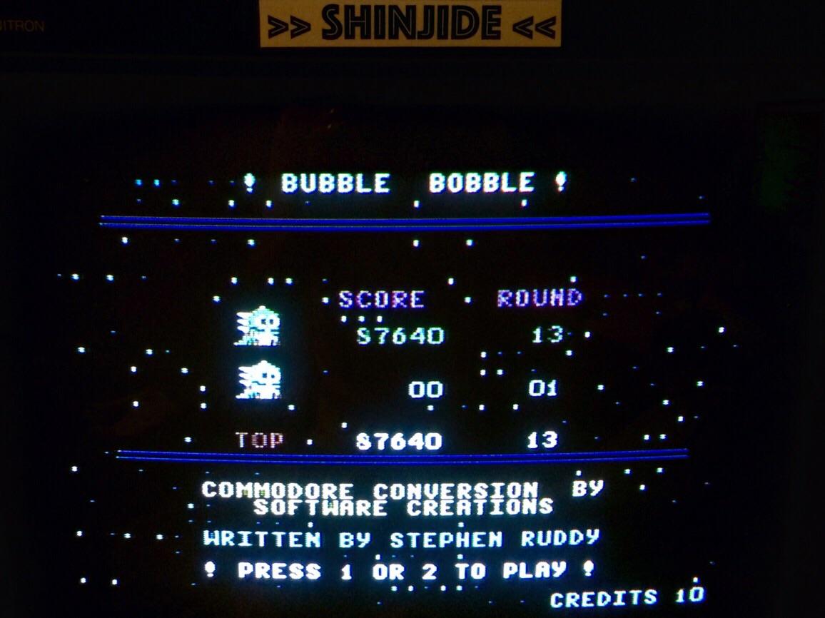 SHiNjide: Bubble Bobble (Commodore 64) 87,640 points on 2015-07-27 14:01:42