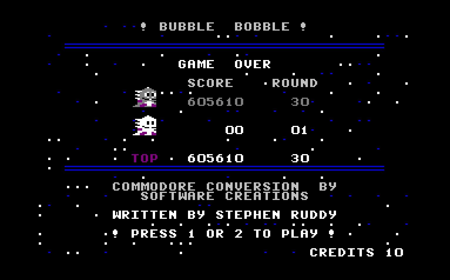 Bubble Bobble 605,610 points