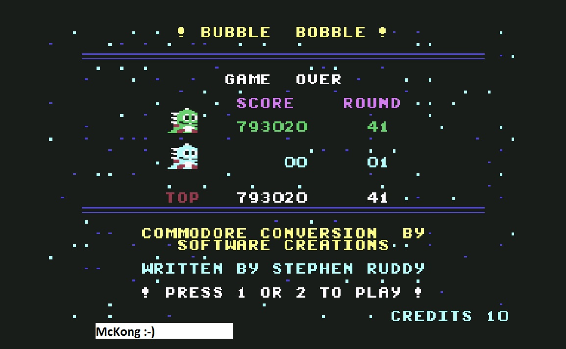 Bubble Bobble 793,020 points