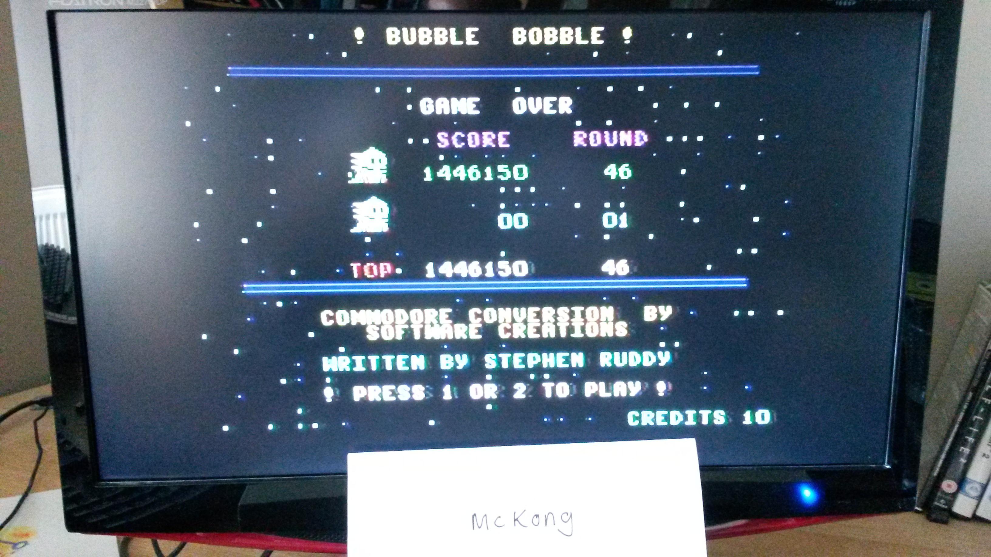 Bubble Bobble 1,446,150 points