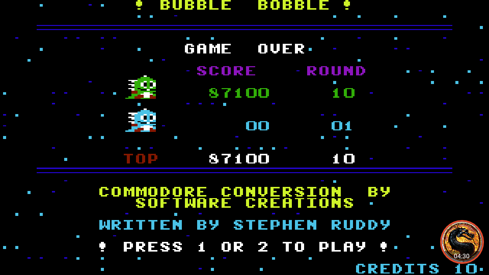 omargeddon: Bubble Bobble (Commodore 64 Emulated) 87,100 points on 2019-08-29 22:07:17