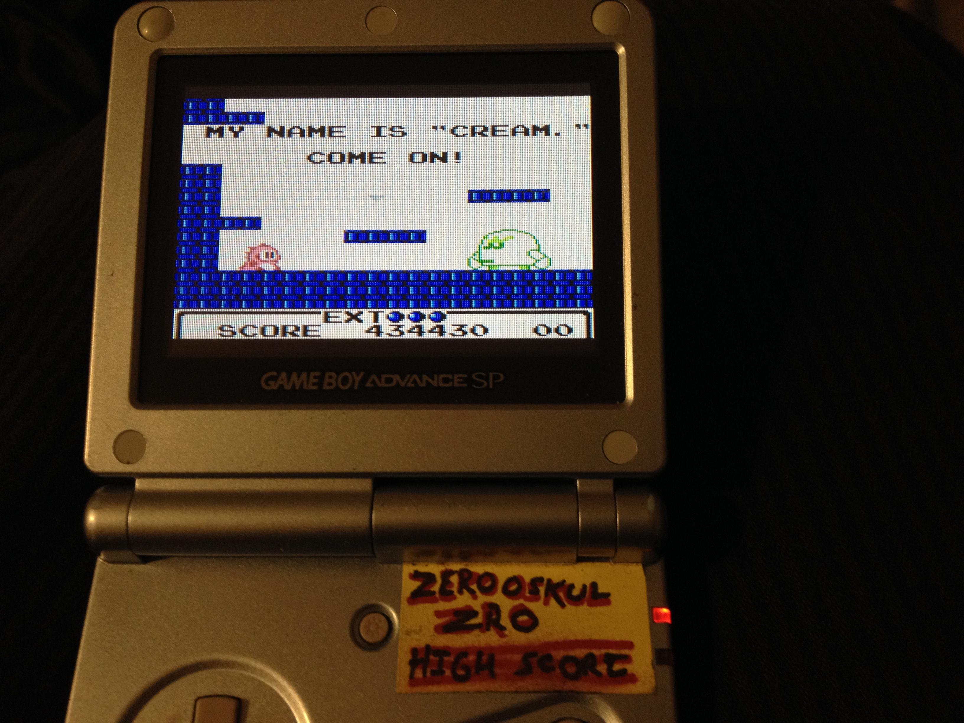 zerooskul: Bubble Bobble (Game Boy) 434,510 points on 2019-05-10 10:03:58