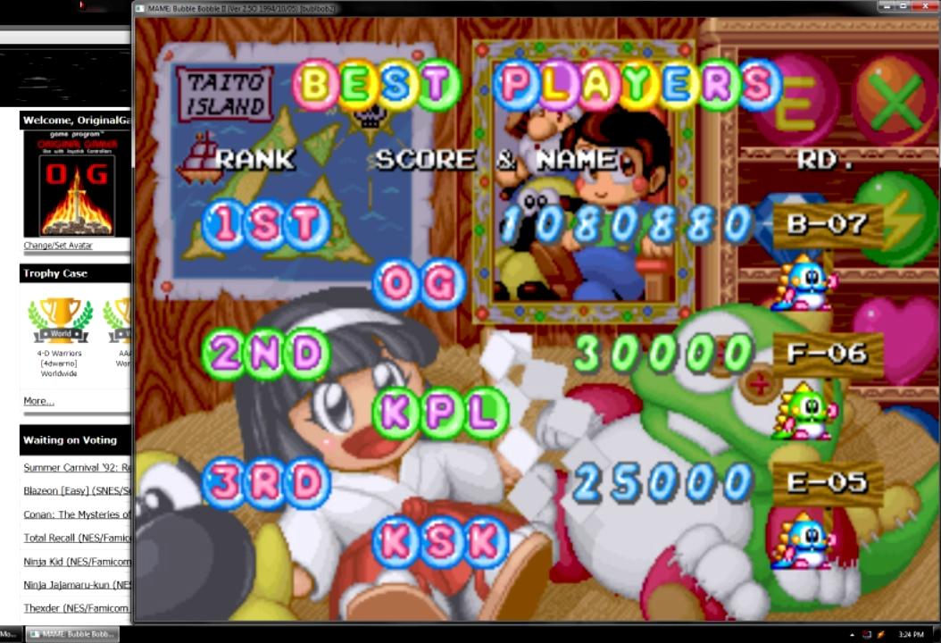 OriginalGamer: Bubble Bobble II (Arcade Emulated / M.A.M.E.) 1,080,880 points on 2015-07-10 19:52:42