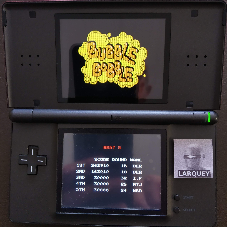 Larquey: Bubble Bobble Revolution [Classic Ver.] (Nintendo DS) 262,910 points on 2020-08-15 03:41:48