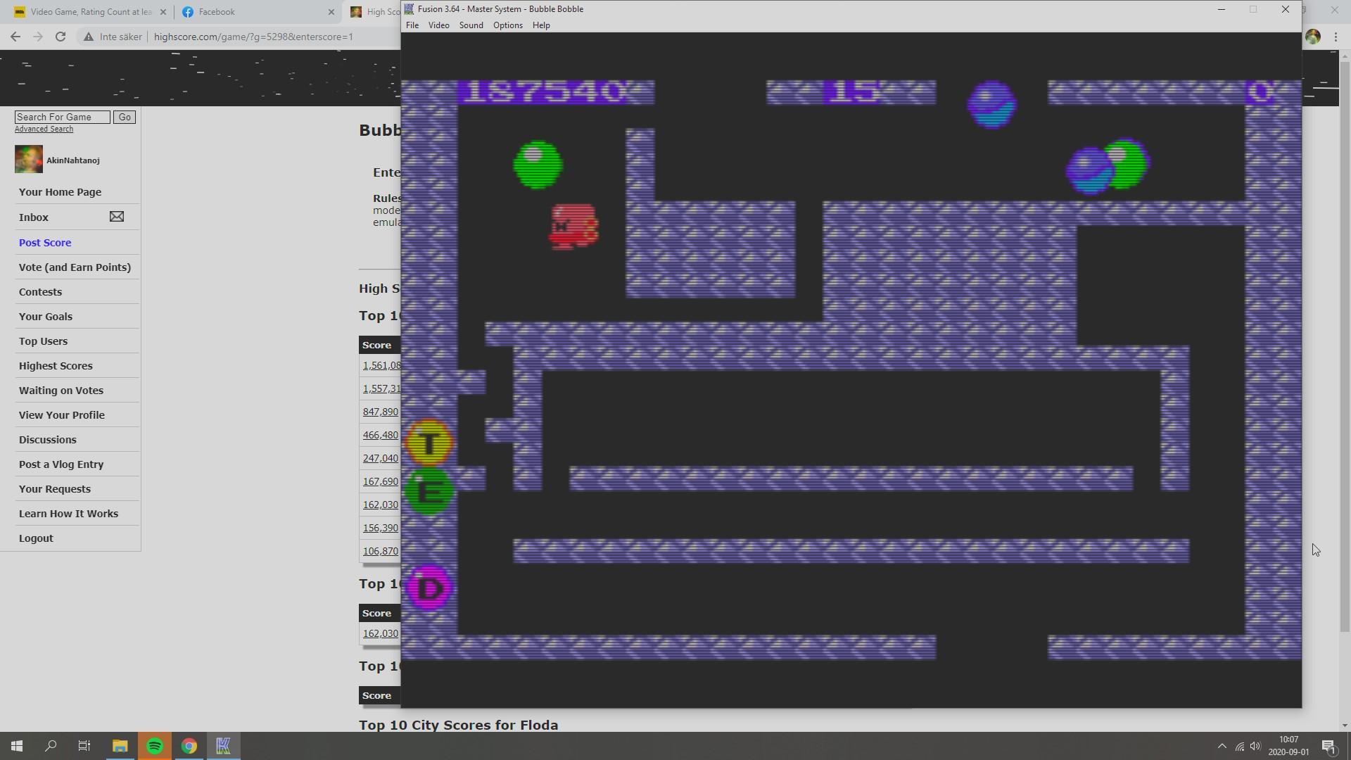 AkinNahtanoj: Bubble Bobble (Sega Master System Emulated) 187,540 points on 2020-09-01 04:08:38